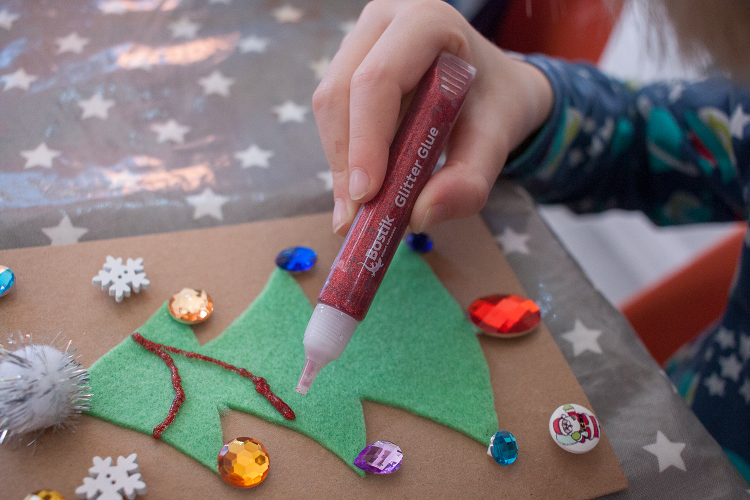 Adding Glitter Glue Tinsel