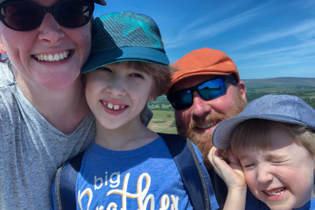 Me & Mine May 2020 Family selfie at the top of Nicky Nook