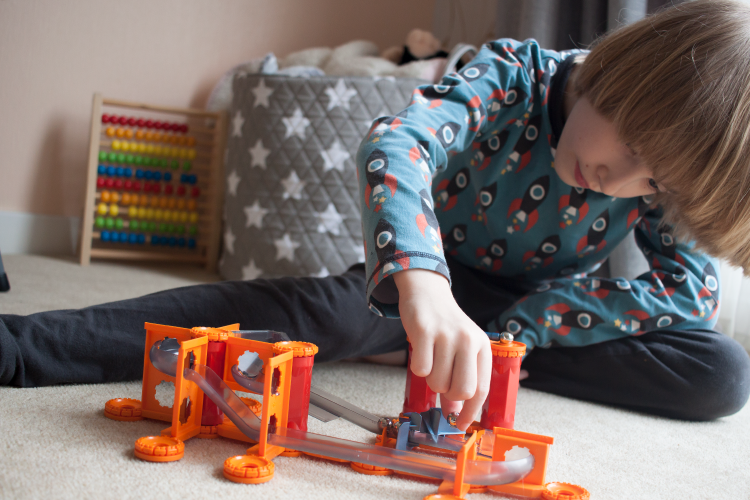 Toby playing with the Geomag Magnetic Track