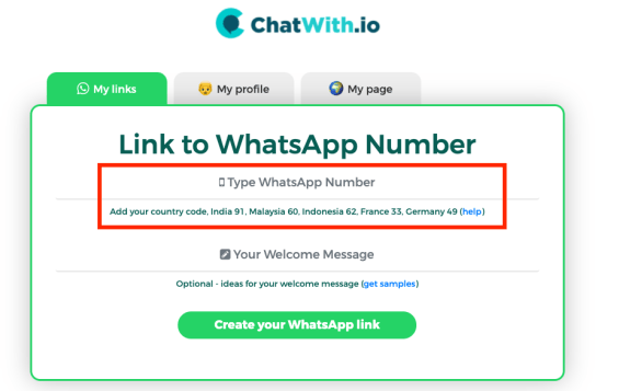 add your number to WhatsApp link