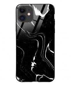 Black Marble iPhone 12 Glass Case Cover