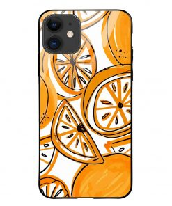 Orange Doodle iPhone 12 Glass Case Cover