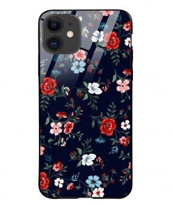 Retro Flower iPhone 12 Glass Case Cover