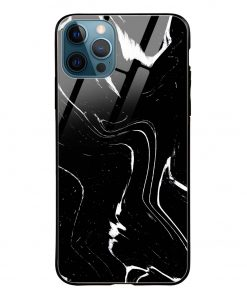 Black Marble iPhone 12 Pro Max Glass Case Cover