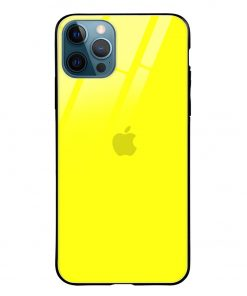 Bright Yellow iPhone 12 Pro Max Glass Case Cover