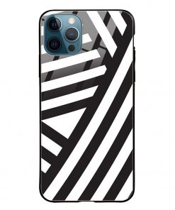 Cross Stripes iPhone 12 Pro Max Glass Case Cover