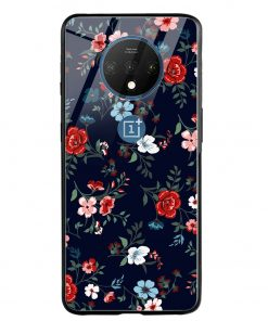 Retro Flower Oneplus 7T Glass Case Cover