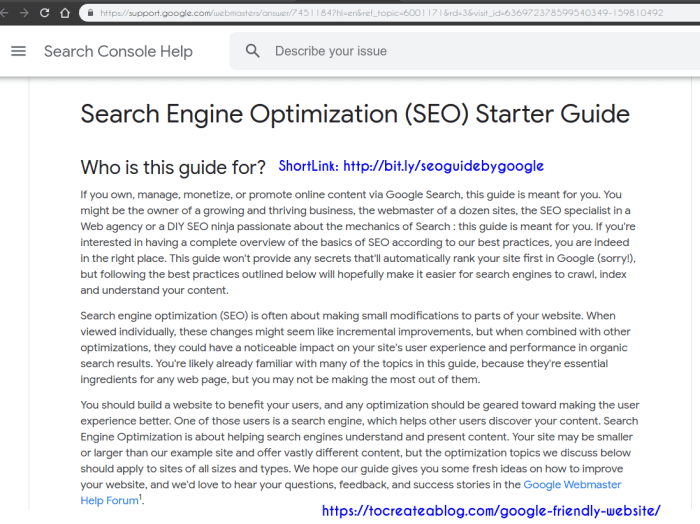 Search Engine Optimization (SEO) Starter Guide by Google
