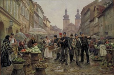 Pintura de V. Bartoněk llamada Reclutas. Soldados paseando por el mercado de las frutas