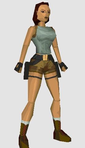 El modelo original de Lara Croft constaba de 230 polígonos. En el juego aparece con la trenza recogida por lo mismo que Mario lleva mono y gorra, porque los gráficos por aquel entonces no daban para más.