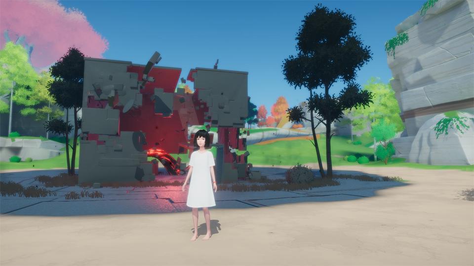 Maya en la isla con uno de los edificios que conducen a salas de puzle sin resolver.