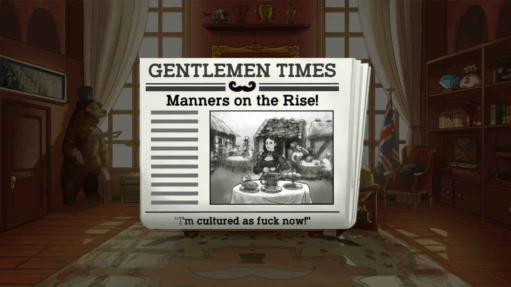 Periódico Gentlemen Times. Titular: Manners on the Rise!