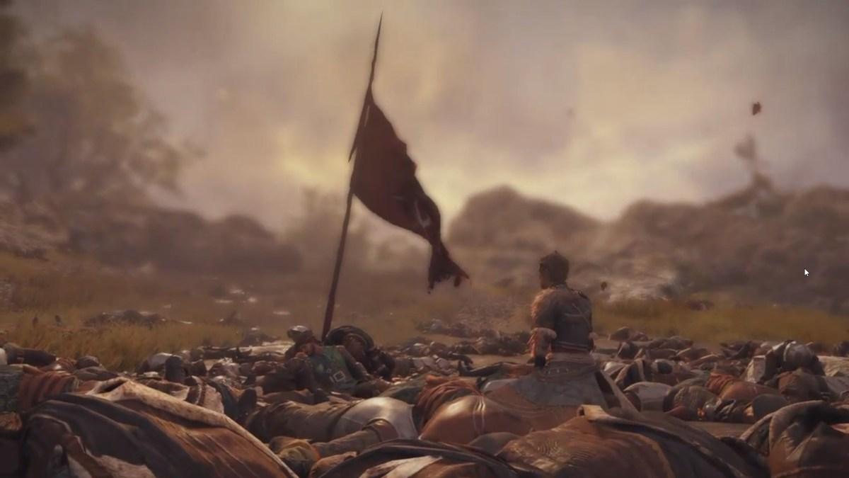 Un montón de cadáveres. Un único superviviente y una bandera son lo único que se mantiene medianamente levantado.