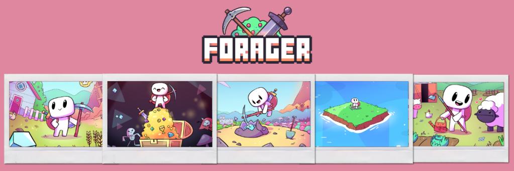 Logo de Forager junto con seis pósters promocionales recortados como fotos de polaroid