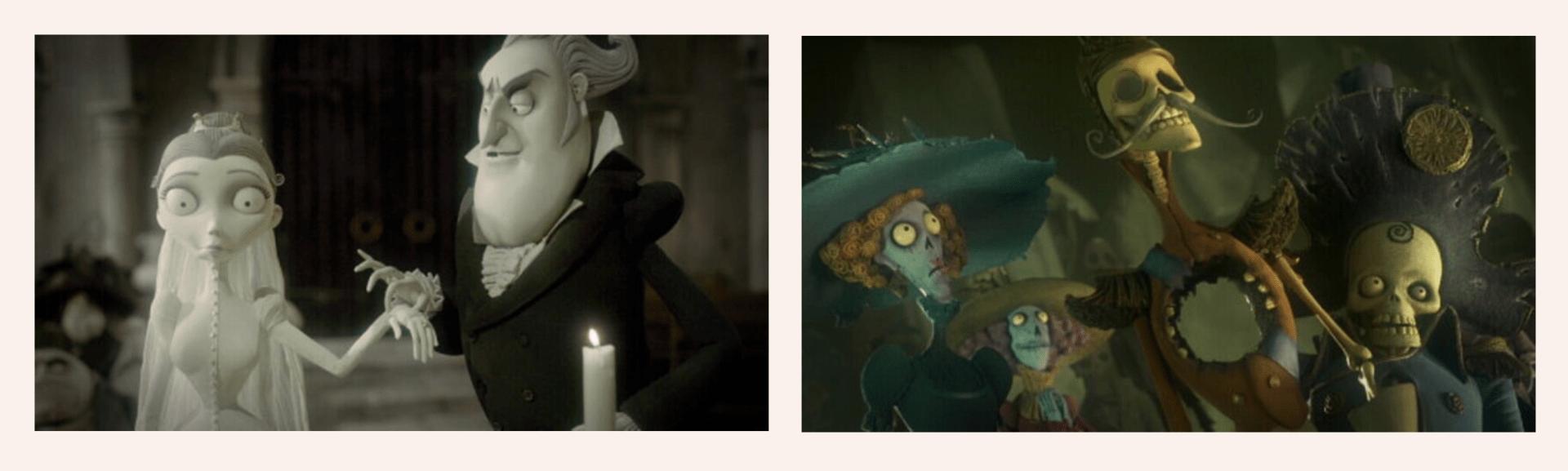 Dos fotogramas de La Novia Cadáver