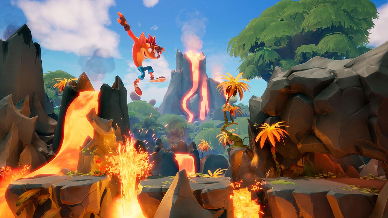 Crash Bandicoot saltando de una plataforma a la otra