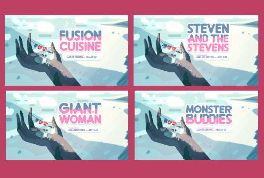 Carteles de cuatro episodios de la primera temporada de Steven Universe