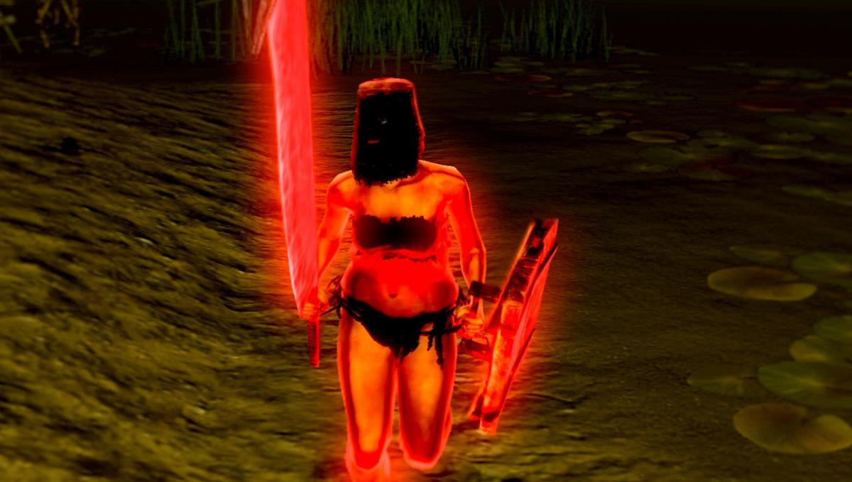 Señora con machete y escudo