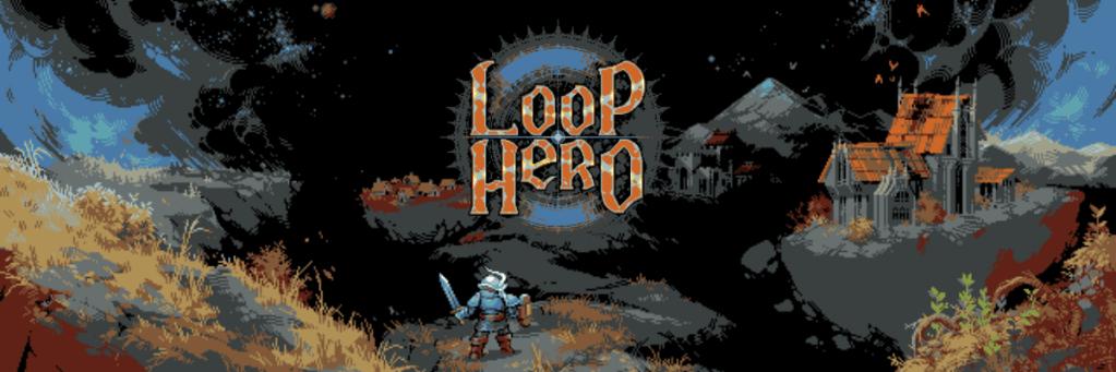 Logo de Loop Hero con figura con armadura en primer plano