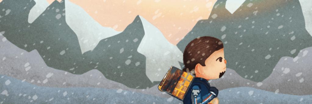 Sam Porter Bridges andando sobre un paisaje nevado con estética de Animal Crossing