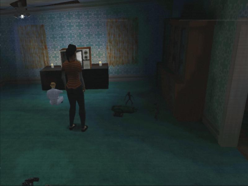 Pantalla con gráficos estilo PlayStation 1. El salón de una casa con juguetes por el suelo. Un niño ve la tele sentado en el suelo en pijama. Su niñera, el personaje principal del juego, está de pie.