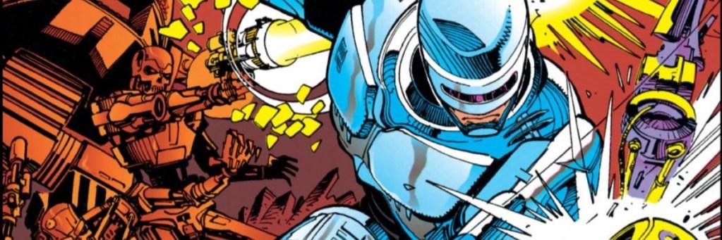 Ilustración de cómic. Robocop golpea a un Terminator que queda fuera de la imagen, solo vemos un brazo. Mientras, otro Terminator dispara a Robocop a su espalda. Se ven partes de otros dos robots.