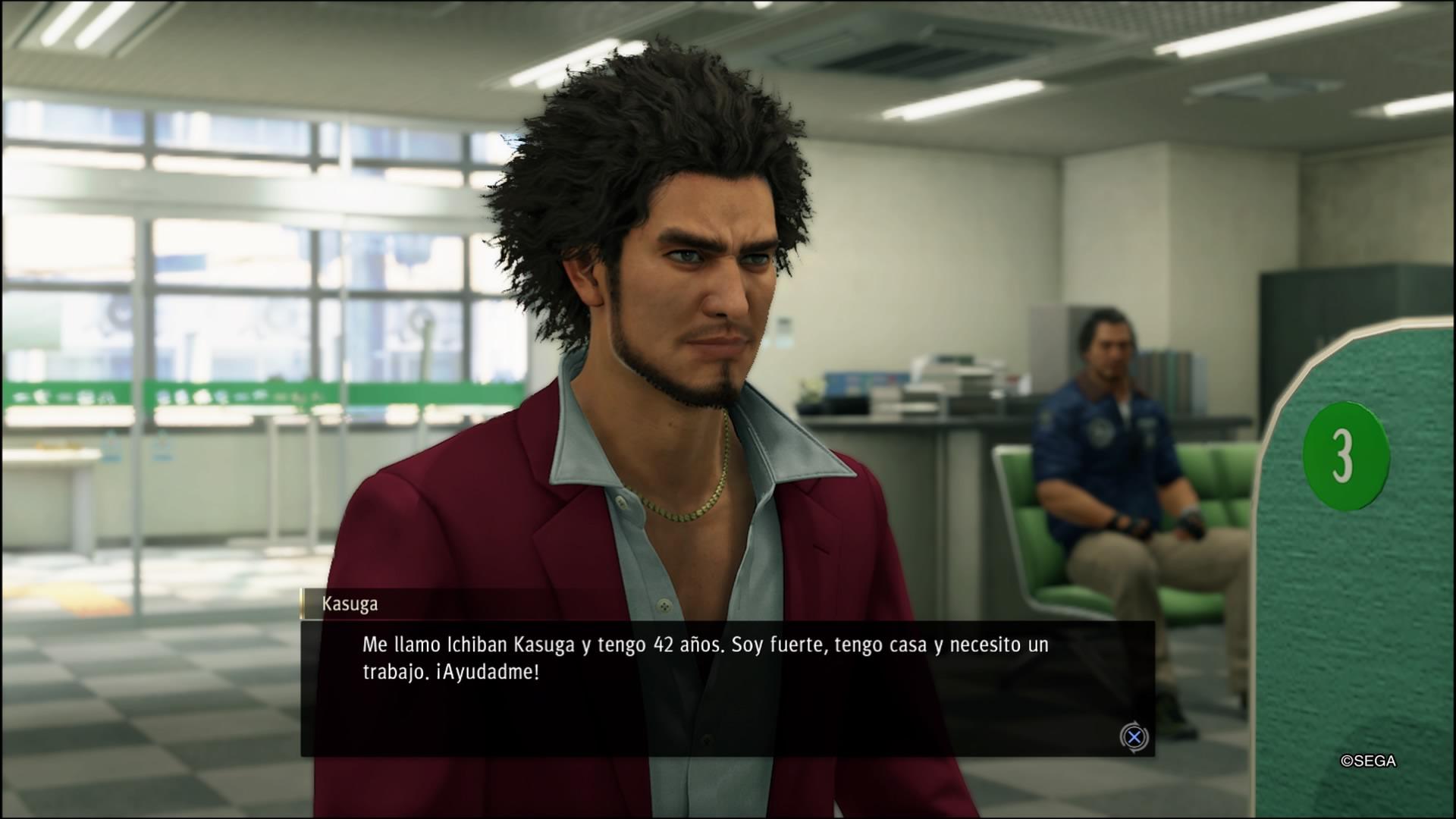 Ichiban en la oficina de empleo buscando trabajo