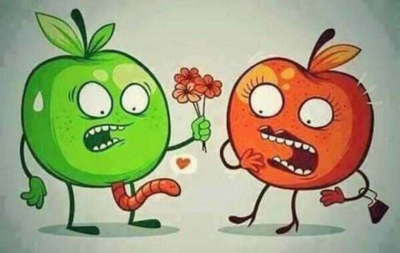 Chistes-gráficos-de-fruta-manzanas gusanito