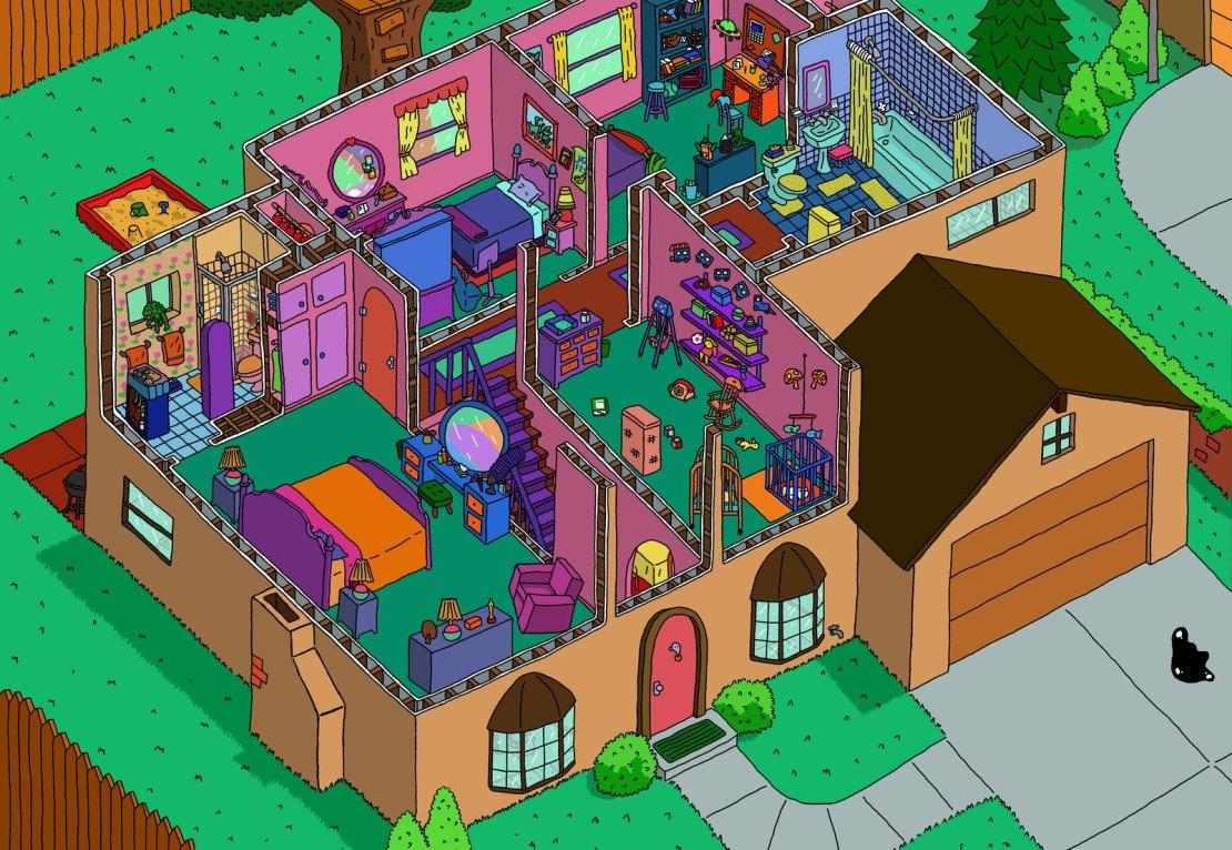 Planos de la casa de Los Simpson en 2D y 3D