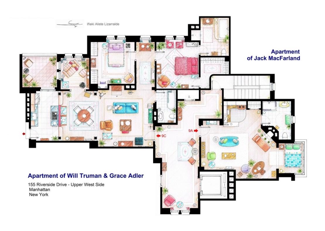 Plano de la casa de Will y Grace