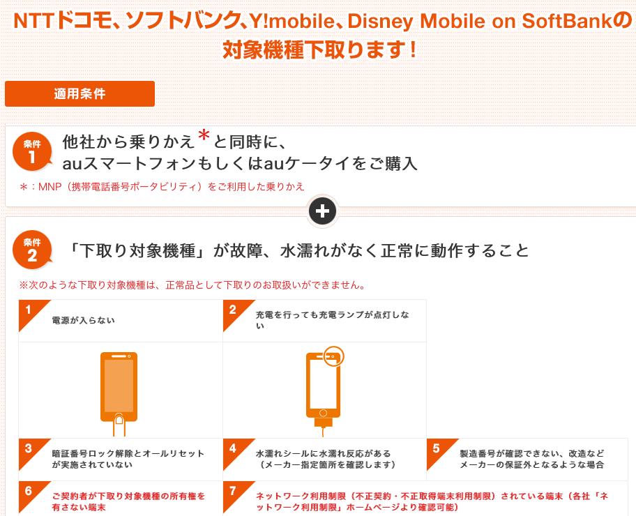 auのiPhone下取り条件