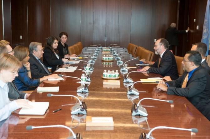 The Secretaries-General and their teams at the 9th Biennial CARICOM-UN General Meeting in New York (UN Photos)