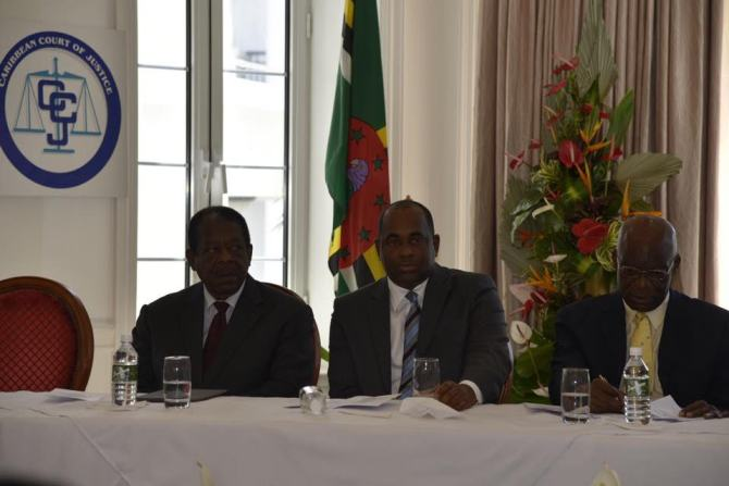 From left, President of the CCJ Sir Denis Byron, Prime Minister of Dominica Hon. Roosevelt Skerrit, Constitutional Law expert and Feature Speaker Dr. Francis Alexis