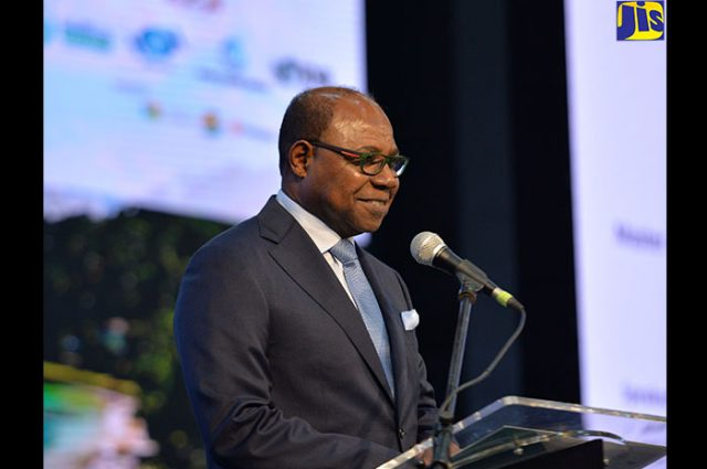 Minister of Tourism, Hon. Edmund Bartlett, addresses the United Nations World Tourism Organization (UNWTO) Global Conference on Tuesday (November 28) at the Montego Bay Convention Centre in St. James. (photo via JIS)