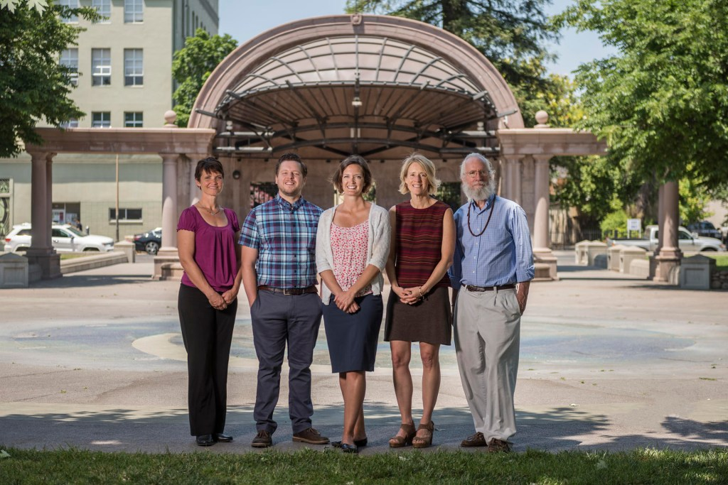 Holly Nevarez, Peter Hansen, Jennifer Wilking, Susan Roll, and David Philhour pose for a photo in Chico City Plaza.