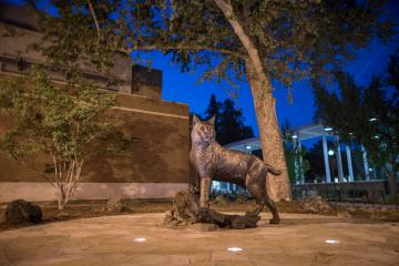 The Wildcat Statue sits proudly in Chico State's Wildcat Plaza.