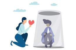 Illustration of a person kneeling and holding out a heart to a person who is huddled up and appears to be under a dark cloud