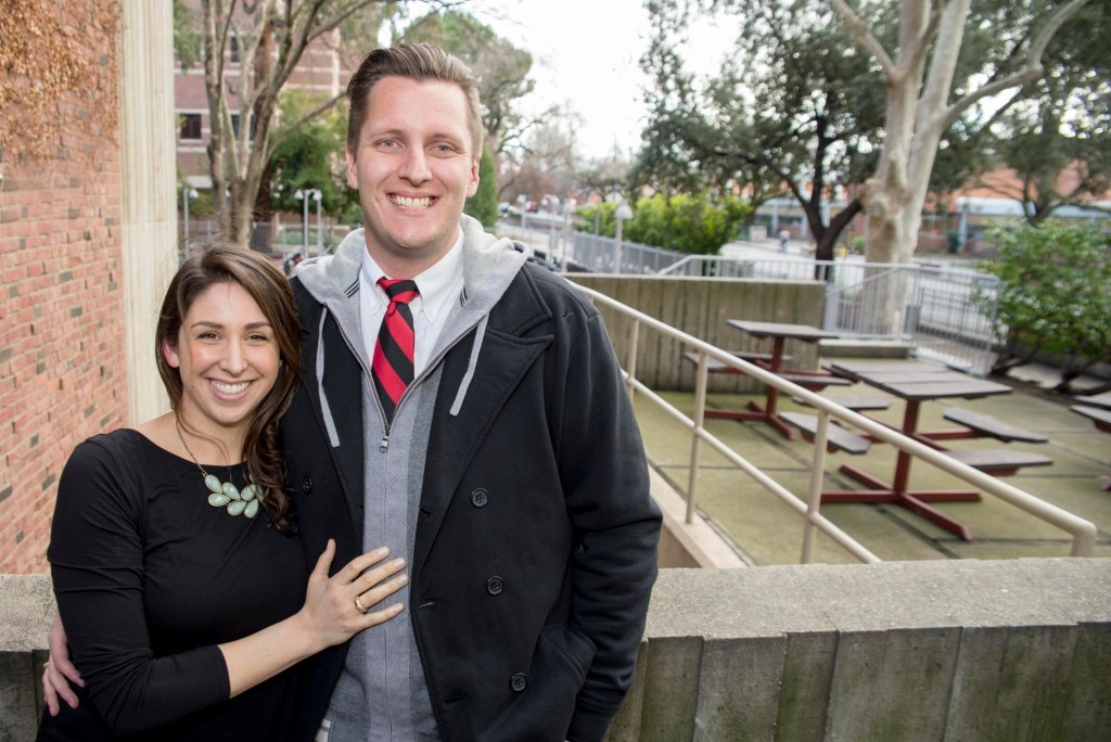 Kelsey and Jeff Harrington pose at Whitney Hall.