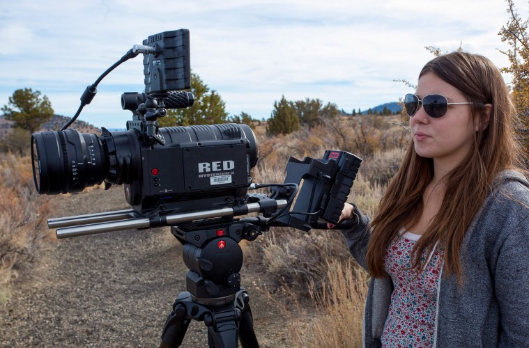 student works with the state-of-the-art Red camera