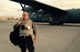 Greg Gangnuss on an airfield in Afghanistan.