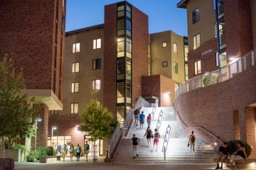 Students walk in the Sutter Courtyard.
