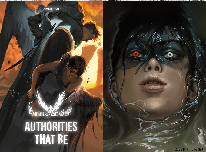 """two painted covers of angels, reading """"Angels Power: Authorities That Be"""""""