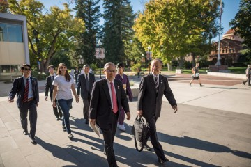Ambassador Shotaro Oshima, and Akio Ogasawara (left to right) walk through the Chico State campus prior to their presentation, Walk in U.S., Talk on Japan. A delegation from the Prime Minister's Office of Japan provided a unique opportunity to meet Ambassador Oshima and his team of panelists in a stimulating dialogue on the relationship between the U.S and Japan on Friday, October 27, 2017.