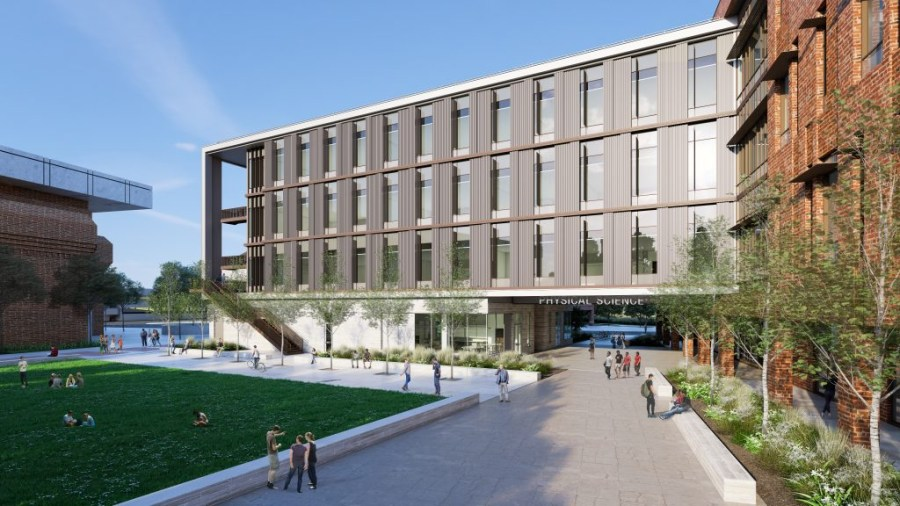 Rendering of the new physical science building showing how it opens to a grassy quad area.