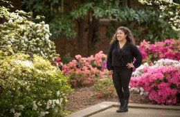 Outstanding Senior Unique Torres is photographed in Old Hutch Plaza on Tuesday, April 10, 2018 in Chico, Calif. Unique is a Journalism major and Spanish minor hoping to find a career in social justice. (Jessica Bartlett /University Photographer/CSU Chico)