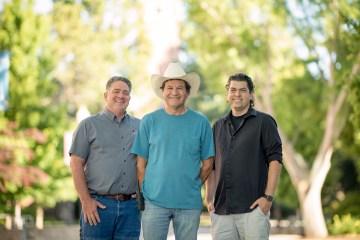 David Turri, Ricardo Carrillo, and Jason Halley pose on campus.