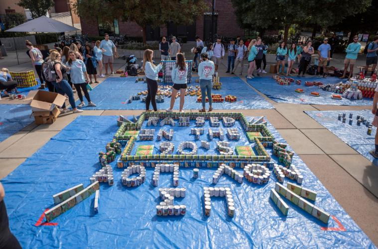 Dozens of fraternity and sorority members stand amid their elaborate designs put together from canned and non-perishable food items.