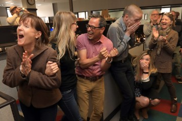 The reporting staff of the Santa Rosa Press Democrat erupts in celebration as they learn that the Santa Rosa Press Democrat captured the Pulitzer Prize for Breaking News Reporting in April 2018 for their coverage of the October 2017 fires in Sonoma County.