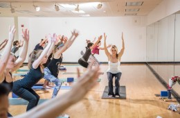 Cathrine Himberg teaches during her Intermediate Yoga (KINE169B) class.