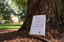 """This year's Book in Common, """"In Search of the Canary Tree,"""" rests against a tree outside Kendall Hall on a sunny spring day."""